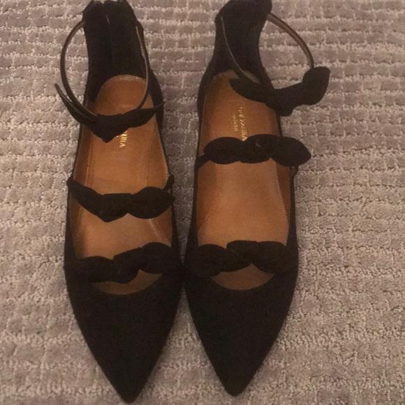 Aquazzura Shoes - Aquazurra Black St. Tropes Bow Flats sz 8
